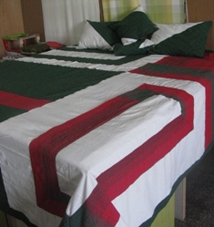 Red and Green Handloom Double Bedspread
